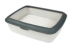 Grey cat litter tray with catching rim