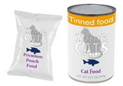 Branded tin and pouch cat food